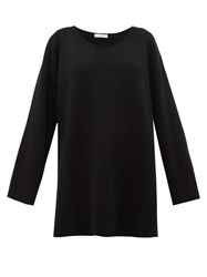 The Row Damian Scoop Neck Wool Blend Sweater Black