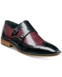 Stacy Adams Men's Brewster Double Monk Slip On Loafers Men's Shoes Black Burgundy