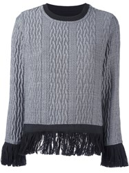 Christian Pellizzari Cable Knit Fringed Jumper Grey