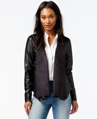 Maison Jules Draped Contrast Faux Leather Jacket Only At Macy's Deep Black