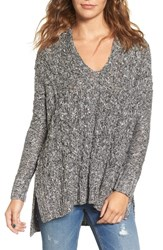 Love By Design Women's Marled Cable Knit Pullover White Black Marl