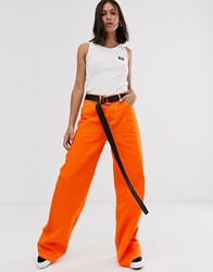 Dickies Girl Wide Leg Skater Pants With Contrast Stitching Orange