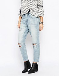 Only Super Soft Boyfriend Jeans With Rips Light Blue Denim