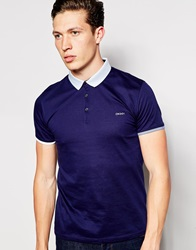 Dkny Short Sleeve Rib Polo Blue