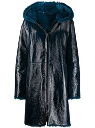 Manzoni 24 Fur Trimmed Coat Blue
