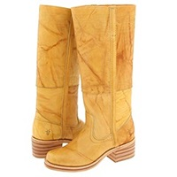 Frye Campus Stitching Horse Banana Cowboy Boots Yellow