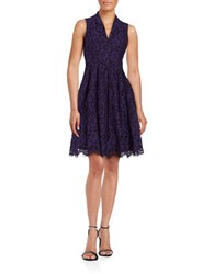 Vince Camuto Sleeveless Lace Fit And Flare Dress Purple