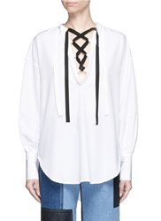 Tome Open Back Cotton Pique Lace Up Peasant Top White