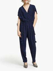 And Or Zebra Print Jumpsuit Navy