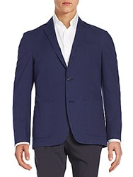 Saks Fifth Avenue Black Regular Fit Cotton Blazer Navy