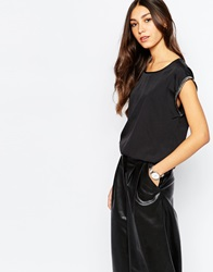Soaked In Luxury Short Sleeve Top With Embellished Trim Black