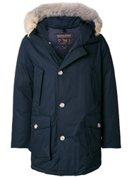 Woolrich Fur Trim Padded Jacket Cotton Feather Down Polyamide Coyote Fur L Blue