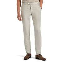 Isaia Dustin Slub Linen Slim Trousers Beige Tan