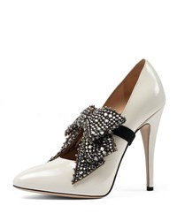 Gucci Elaisa Crystal Bow Pump White