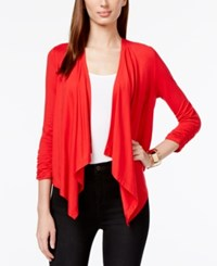 Grace Elements Open Front Draped Cardigan Red