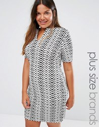 Club L Plus Dress With Open Neck In Chevron Print Black White