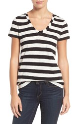 Caslonr Women's Caslon Relaxed Slub Knit U Neck Tee Ivory Black Wide Stripe