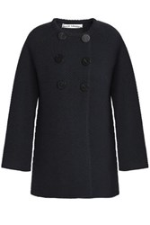Goat Double Breasted Wool Blend Coat Black