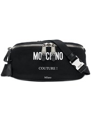 Moschino Logo Printed Belt Bag Black