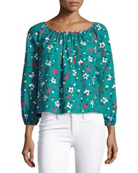 Marc Jacobs Floral Print Long Sleeve Peasant Blouse Black Pattern