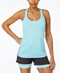 Ideology Rapidry Heathered Racerback Tank Top Only At Macy's Crystal Mist