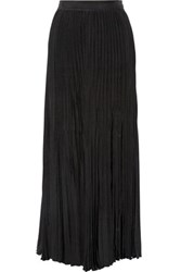 Joseph Hilde Pleated Washed Satin Maxi Skirt Black