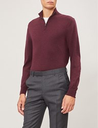 Gieves And Hawkes Turtleneck Half Zip Wool Jumper Burgundy