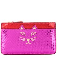 Charlotte Olympia Feline Coin Purse Pink And Purple