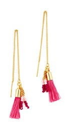 Rebecca Minkoff Threader Earrings With Tassels Gold Pink