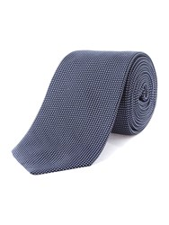 T.M.Lewin Slim Silk Patterned Tie Navy And White