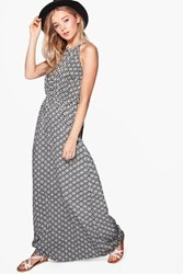 Boohoo Sinead Keyhole Printed Maxi Dress Multi