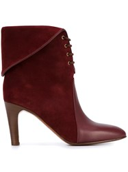 Chloe Kole Lace Up Leather Boots Red