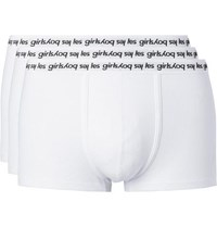 Les Girls Les Boys Three Pack Ribbed Stretch Cotton Boxer Briefs White