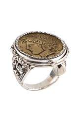 Konstantino Women's 'Arethusa' Coin Ring Silver Bronze