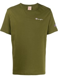 Champion Logo Embroidery T Shirt Green