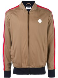 Msgm Logo Plaque Bomber Jacket Brown