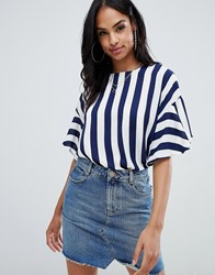 Ax Paris Striped 3 4 Sleeve Top Black