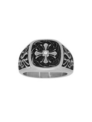 Lord And Taylor Cubic Zirconia Stainless Steel Cross Ring Silver