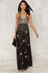 Nasty Gal Collection Dancing Out In Space Beaded Maxi Dress Black