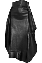 A.W.A.K.E. Ruffled Faux Leather Midi Skirt Black