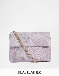 Asos Leather Embossed Shoulder Bag With Chunky Chain Strap Pink