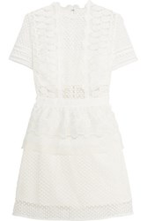 Self Portrait Guipure Lace Peplum Mini Dress Off White