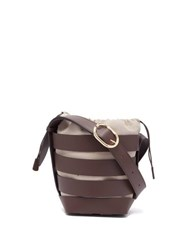 Paco Rabanne Cage Leather Bucket Bag Brown Multi