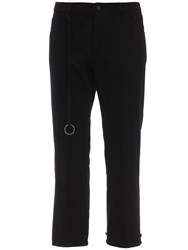 Ann Demeulemeester Cropped Cotton And Linen Fisherman Pants Black