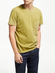 John Lewis And Co. Overdyed Cotton Marl Pocket T Shirt Oil Yellow