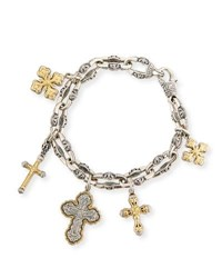 Konstantino Sterling Silver And 18K Gold Cross Charm Bracelet Yellow Silver