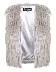 Miss Selfridge Faux Mongolian Fur Vest Grey