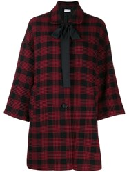 Red Valentino Checked Oversized Coat Red