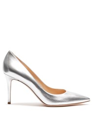 Gianvito Rossi Point Toe Leather Pumps Silver