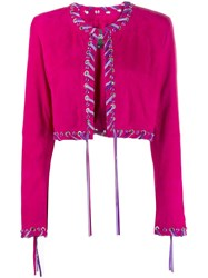 Just Cavalli Woven Hem Fitted Jacket Pink